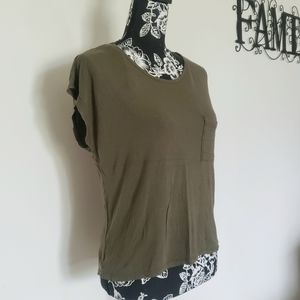 Army green open back Tee